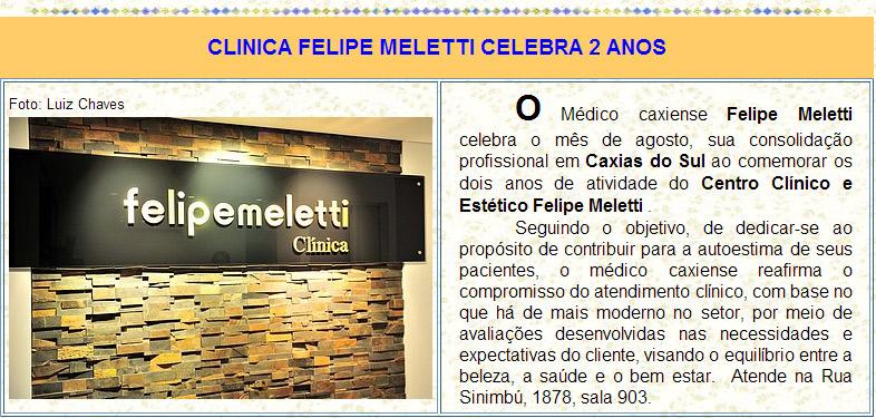Site Odinha Peregrina - Agosto 2013 - Clinica Felipe Meletti celebra 2 anos