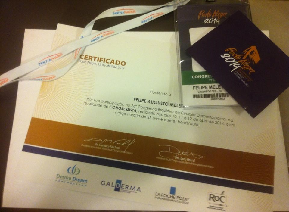 26 congresso brasileiro de cirurgia dermatologico - abril de 2014 - porto alegre - RS