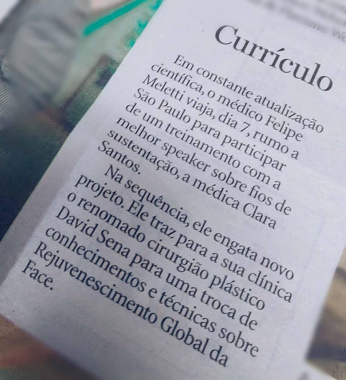 A imagem mostra uma nota de jornal que fala sobre o Dr. Felipe Meletti.